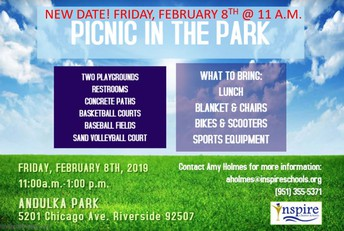 Picnic at Andulka Park - Riverside February 8TH