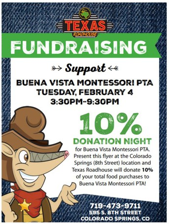 """The question on everyone's mind today is, """"Is the 10 percent donation night at Texas Roadhouse to support Buena Vista Montessori PTA still happening tonight?""""! The answer is a resounding YES!!"""