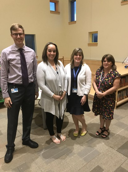 Counselro Matthew Willis, Social Worker Krystal Velazquez, Evaluation Team Supervisor Jennifer Beaulac and School Nurse Karen Palm are here to support our students.