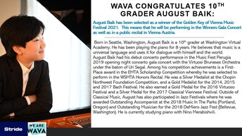 Congrats to WAVA 10th Grader August Baik