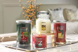 Yankee Candle holiday display of candles