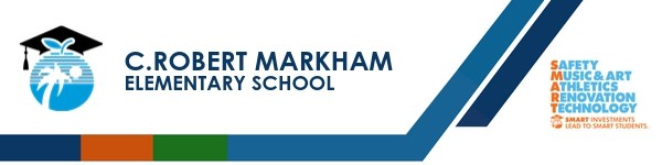 A graphic banner that shows C. Robert Markham Elementary School's name and SMART logo