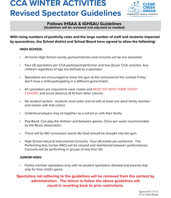 CCA Revised Winter Spectator Guidelines