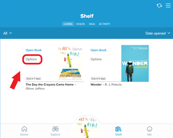 "Find the book on your shelf, then click ""Options"""