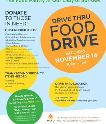 OLS Food Donation Drive Thru Food Drive, Tomorrow, Sat., 11/14