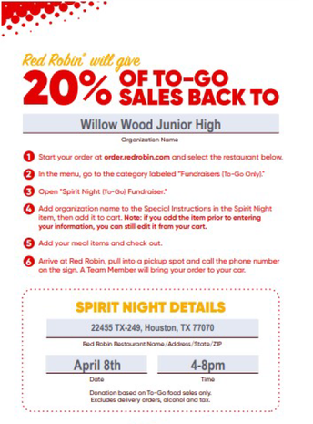Red Robin Spirit Night