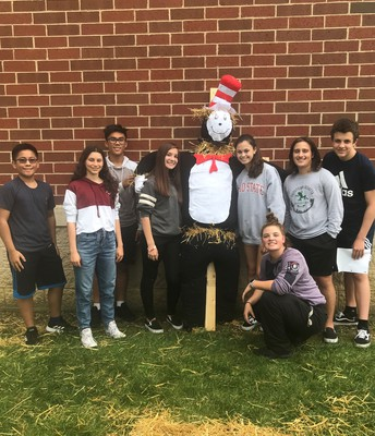 Key Club Students Made a Scarecrow for Pumpkin Glow