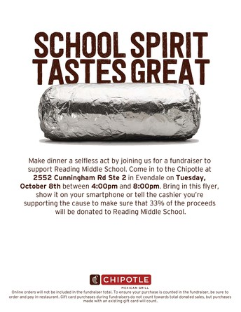 RMS PTO CHIPOTLE FUNDRAISER- OCTOBER 8, 4-8pm at Evendale Chipotle