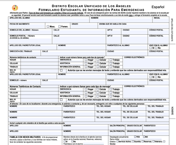 Formulario Estudantil de Información para Emergencia