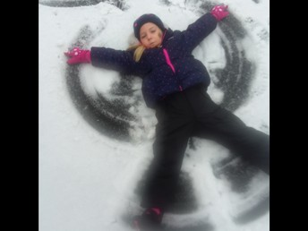 She is a master at the snow angel