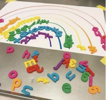 Language Arts: Rainbow letter sorting