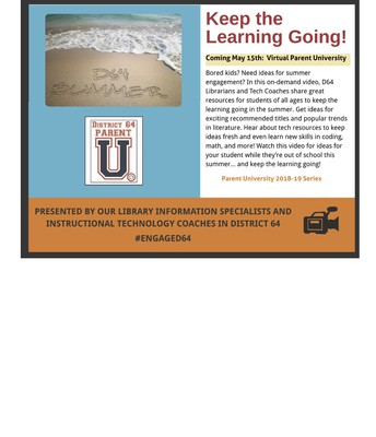 D64 Parent University Summer Learning Flyer