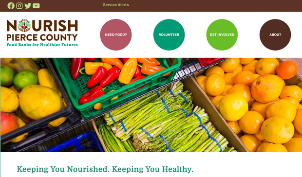 Screenshot of Nourish website that says Nourish Pierce County: Food Banks for Healthier Families. Keep you Nourished. Keep you healthy.