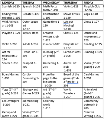 Kindergarten-3rd Grade Club Schedule