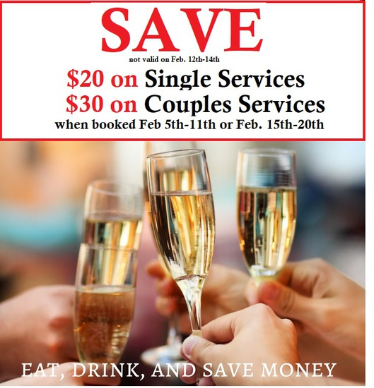 Discount reflected at time of checkout.  Savings are only on Regular Price Valentine's Services