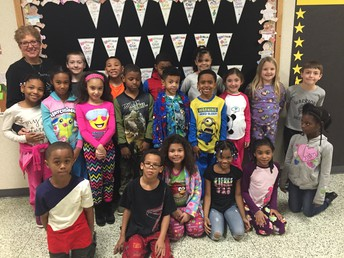 Mrs. Camacho's Room celebrates 10 days of perfect attendance with pajama day!