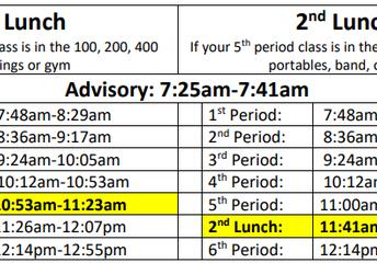 Updated Bell Schedule