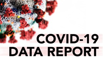 graphic of COVID-19 molecule and data report title