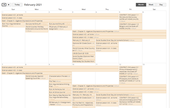All Classes Calendar