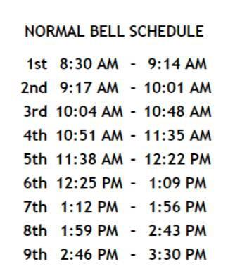Normal Bell Schedule