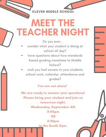 Meet The Teacher Night - September 4th