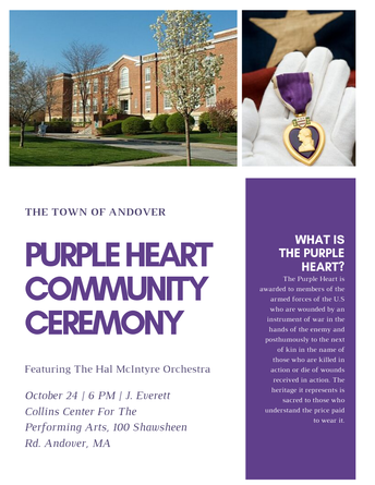 Please join the community as Andover is recognized as a Purple Heart Community
