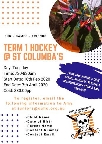 Hockey Program at St Columba's Term 1, 2020