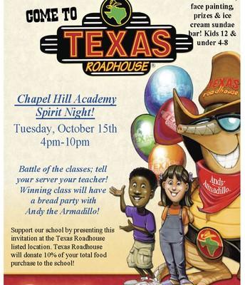 Texas Roadhouse CHA Spirit Night - Tuesday, 10/15/19