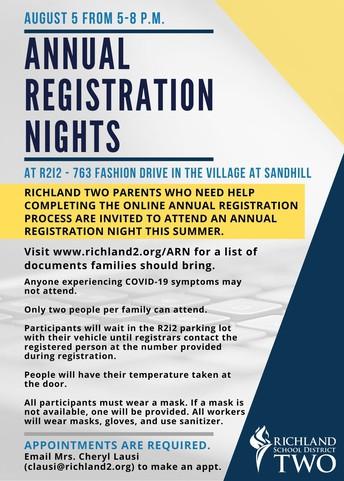 SUMMER ANNUAL REGISTRATION NIGHTS