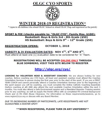 2018 OLGC CYO Winter Registration Form