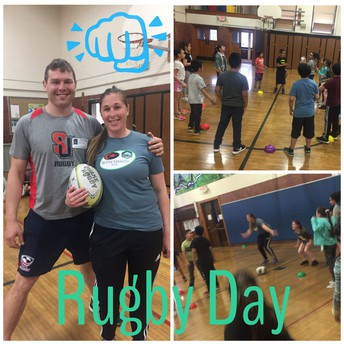 Ms. Asgharzadeh & her fiancé shared their passion for RUGBY during PE this week!