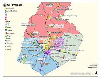 Image shows a map of Frederick County with construction projects marked.