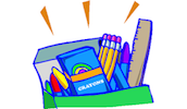 bag with school supplies- pencils, markers, crayons, ruler
