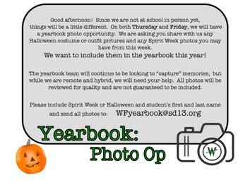 Calling All Students -- Email Westfield Your Pictures for the Arrow and the Yearbook