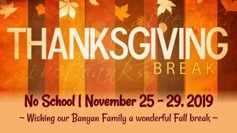 Fall Break Monday 11/25 - Friday 11/29