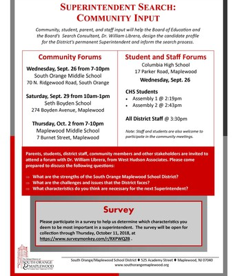 Important SOMSD Superintendent Search Info.