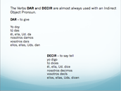 Verbs DAR and DECIR