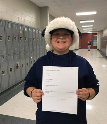 When leaving the cafeteria, Joey stopped and helped me clean up trays of food that were left on the table.  For this action, he received a positive office referral. #lmmsrocks