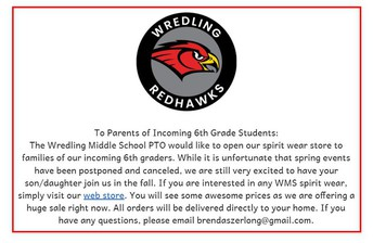 ¡Estudiantes de 5to grado!  ¿Desean ordenar ropa de espíritu escolar de Wredling?