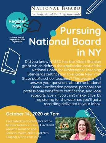 Webinar: Tuesday October 14 at 7pm: National Board for Professional Teaching Standards