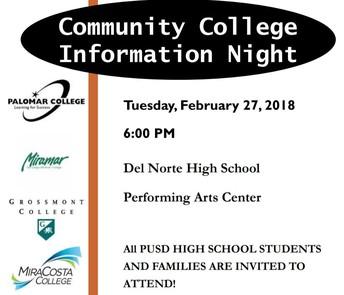 PUSD COMMUNITY COLLEGE INFORMATION NIGHT