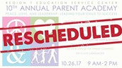Parent Academy Has Been Rescheduled