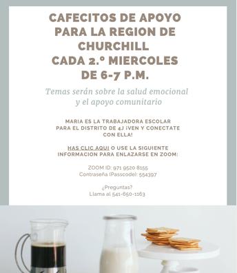 Cafecito de Apoyo for Churchill Region every 2nd Wednesday