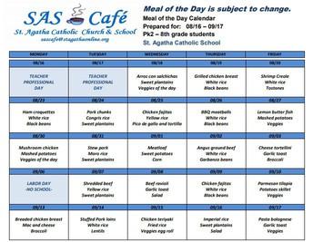 8/18 - 9/17 Lunch Calendar
