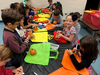 Decorating pumpkins and bags