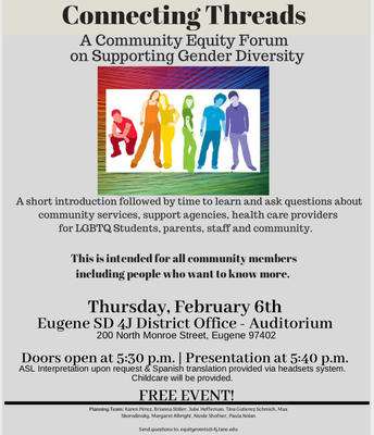 4J Equity Forum-Connecting Threads- A Community Equity Forum on Supporting Gender Diversity
