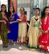 5th Grade Girls model traditional Nepalese dresses!