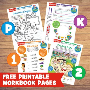 Highlights magazine is offering free printable workbook pages for preschoolers-2nd grade students