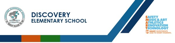 A graphic banner that shows Discovery Elementary school's name and logo with the SMART logo