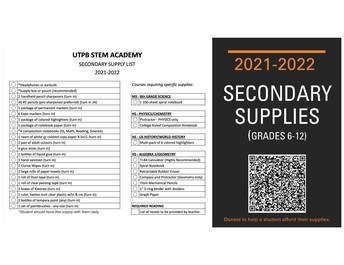 Secondary Supply List